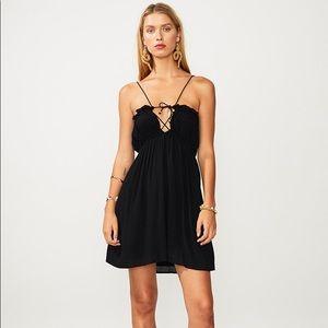 Suboo Fine Lines black strappy mini dress